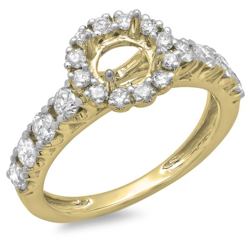 0.85 Carat (ctw) 14K Yellow Gold Round Diamond Semi Mount Engagement Ring (No Center Stone) (Size 7) (Semi Diamond Ring Mount)