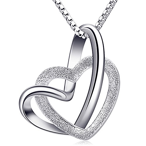 B.Catcher Necklace Womens Silver Jewelry Forever Love Frosted Interlocked Heart Pendant with Chian
