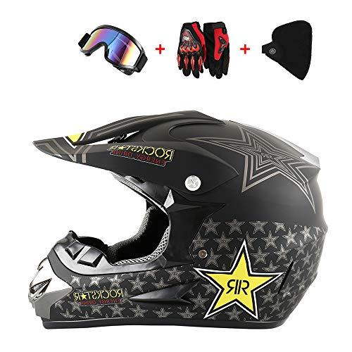 M-LKJ Motorcycle Helmets Motorbike Helmet Adult Full Face Helmet Visor Off Road Racing Motocross ATV Dirt Bike Helmet Motocross Helmet//Goggles//Mask//Gloves