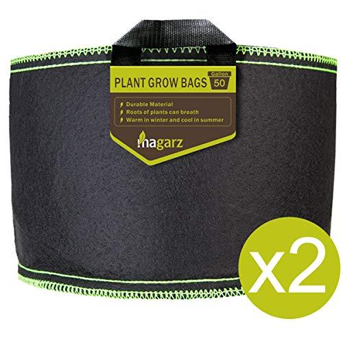 Magarz 50-Gallon 2 Pack Fabric Flower Pots Garden Felt Grow Bags with handle ( black )