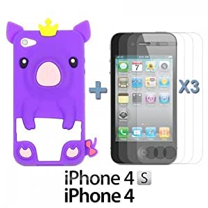 OnlineBestDigitPiggy Style Soft Silicone Case For Ipod Touch 4 Cover NBAPurple with 3 Screen Protectors