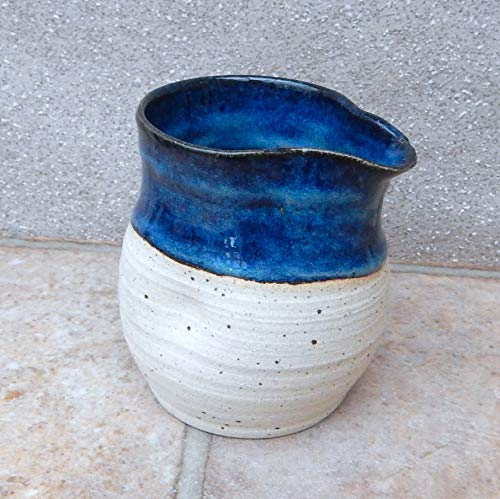 - Jug, creamer or pitcher hand thrown stoneware pottery wheelthrown ceramic handmade cream milk