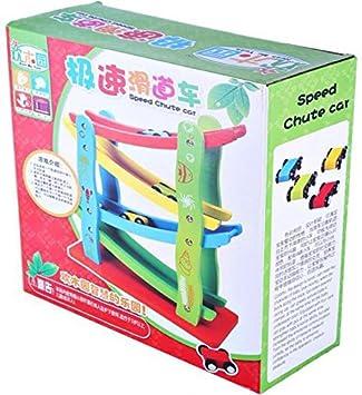 Sanyal 4-Level Wooden Ramp Racer Miniature Games Speeding Car Toy, Race Track Set, Kids 3+Years