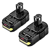 2 Pack 2.5Ah P102 18V Lithium Replacement Battery for Ryobi P103 P104 P105 P107 P108 P109 P190 P100 for Ryobi 18 Volt Batteries