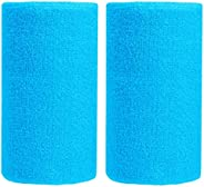 Bbolive 5.5' Inch Wrist Sweatband in 10 Different Neon Colors - Athletic cotton Terry Cloth - Great for Al