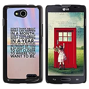 YOYOYO Smartphone Protección Defender Duro Negro Funda Imagen Diseño Carcasa Tapa Case Skin Cover Para LG OPTIMUS L90 D415 - playa inspirador texto cartel atardecer
