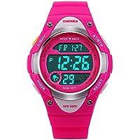 Deportes al aire última intervensión los niños reloj resistente al agua muñeca reloj Kids, Despertador Digital Led de silicona para las niñas niños reloj RoseRed