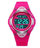 Image of Outdoor Sports Children Watch Waterproof Wrist Watch Kids Silicone ,LED Digital Alarm for Girls Boys Watch Rosered