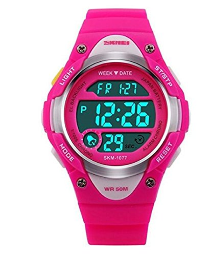Outdoor Sports Children Watch Waterproof Wrist Watch Kids Silicone ,LED Digital Alarm for Girls Boys Watch Rosered
