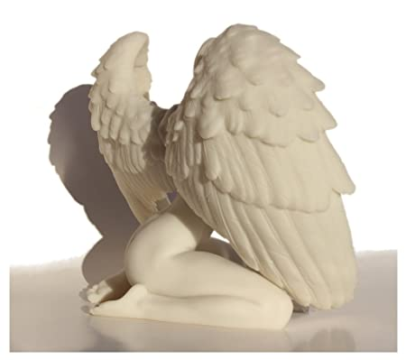 6.88 Inch Winged Nude Female Kneeling with Hands in Front, White