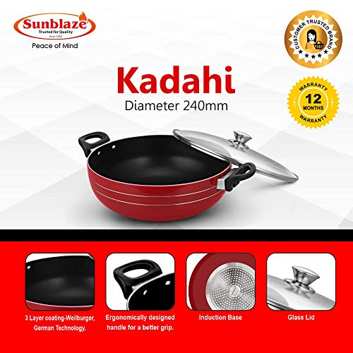 Sunblaze-Premium-Long-Lasting-Induction-Base-Non-Stick-Cookware-Kadahi-with-Glass-Lid-Red-24-cm-Free-1-Spatula-and-1-Sponge-1-Year-Warranty-Free-Home-Service