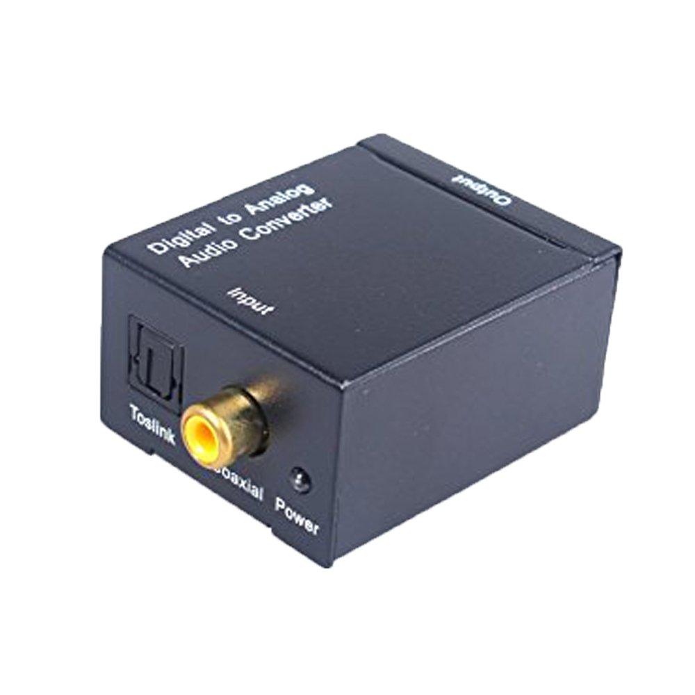Yizhet Digitale Ottico Coassiale a Convertitore Audio RCA Analogico con Jack da 3,5 mm, Toslink o SPDIF a RCA L/R Adattatore, Nero