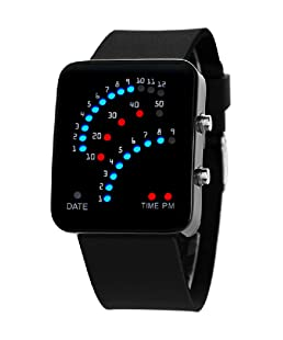 Fanmis 29 LED Sector Blue Red Light Digita Date Black Silicone Strap Men's Women's Wrist Watches