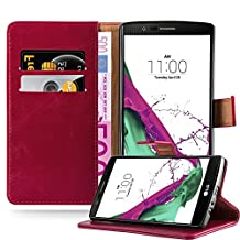 Cadorabo – Luxury Book Style Wallet Design Case for LG G4 with 2 Card Slots and Stand Function - Etui Case Cover Protection Pouch in WINE-RED