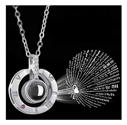 Child 3/4' Pendant - Tilevera Multi-Languages Love Projection Necklace Lettering I Love You in The Eye Necklace Round Circle Shape