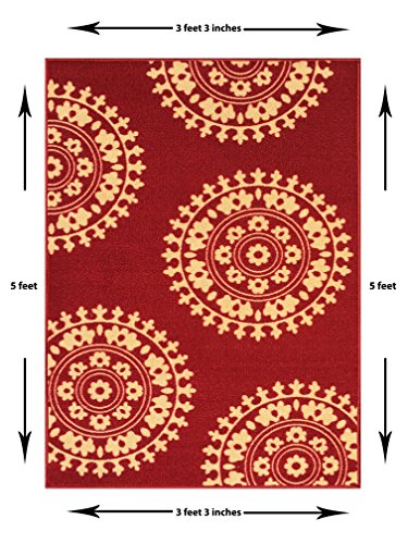 3-feet X 5-feet Non-Skid Rubber Backed Area Rug | RED - IVORY Medallion Modern Rectangle Rugs 3X5