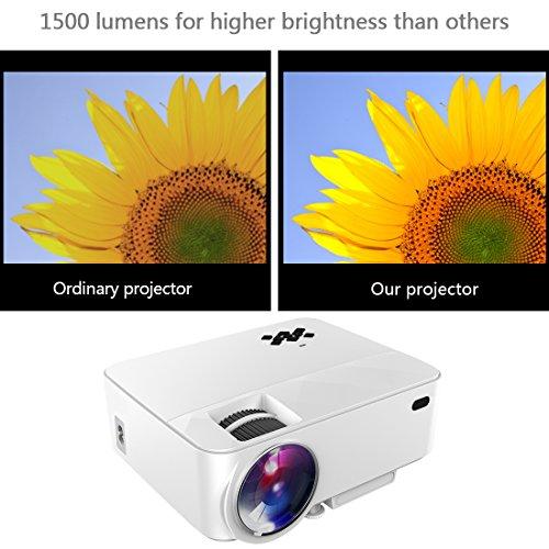 Yaufey Mini Proyector, Proyector de Video Portátil 1500 Lumens ...