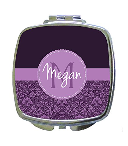 Purple Damask Pattern Jacks Outlet CUSTOM Square Compact Mirror - Custom Compact Mirrors