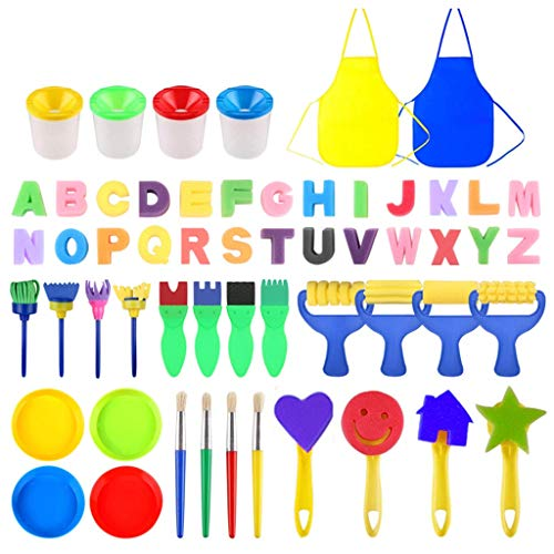 Binory Kids Art & Craft 56pcs Sponge Painting Brushes,Kids Painting Kits Early DIY Learning Toys,Foam Brushes,Waterproof Shirt,Art Flower Pattern Brush Set,26 English Letters,Children Birthday Gift ()