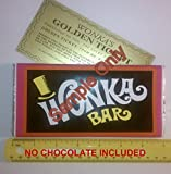 4.4 oz sized Willy Wonka Chocolate Bar wrapper with Golden Ticket replica-no chocolate included