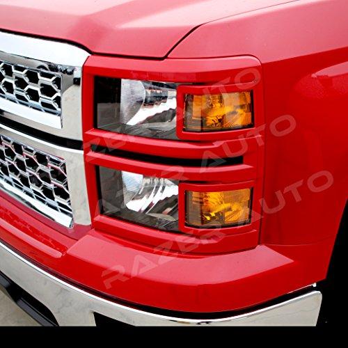 Razer Auto Victory RED Headlight Trim Cover for 2014-2015 Chevy Chevrolet Silverado 1500