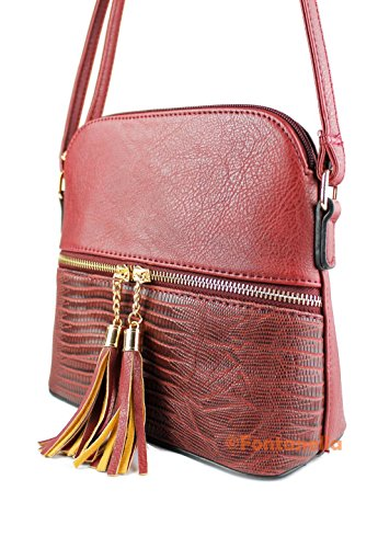 Sling Redfox Trendy Burgundy Women's Faux Leather Handbag Snakeskin Tassel Zip Mini Crossbody 77ncqr8