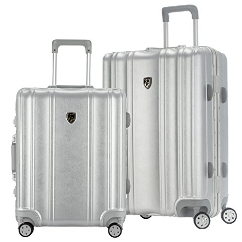 TPRC 2 Piece ''Donna Collection'' Surdy Aluminum Frame, WIDE-BODY, Color-Coordinated Accented Luggage with Dual TSA Locks Includes 28'' Suitcase and 20'' Carry-On Luggage, Silver Color Option by Traveler's Club