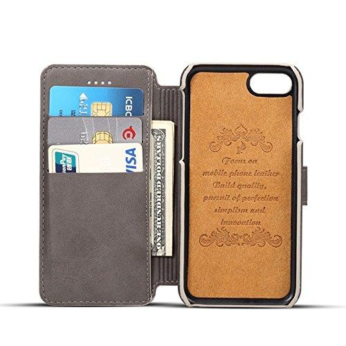 SRY-Bolsa para teléfono móvil Funda de cuero de la PU, cubierta de la caja de la cartera de cuero de vaca retro con pata de cabra con 3 ranuras para tarjetas y 1 ranura de efectivo para iPhone 6 Plus  Gray