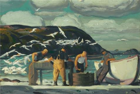 Oil Painting 'George Wesley Bellows,Cleaning Fish,1913', 24 x 35 inch / 61 x 90 cm , on High Definition HD canvas prints is for Gifts And Dining Room, Nursery And - Next Sun Login