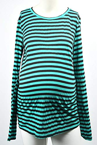 Michael Stars Maternity Beetle Green OSFA Striped Crew Neck t-Shirt top