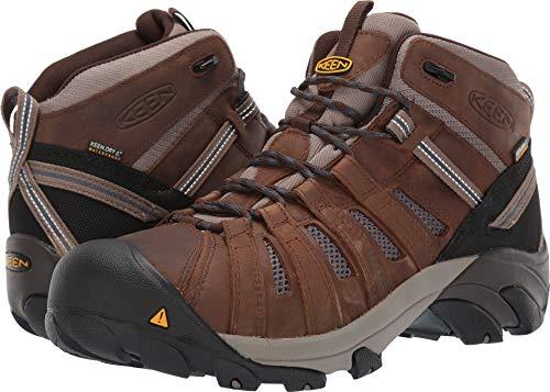 (KEEN Utility Men's Cody Mid Waterproof (Steel Toe) EH-Rated Waterproof Work Industrial Boot Cascade Brown/Blue, 11 D US)