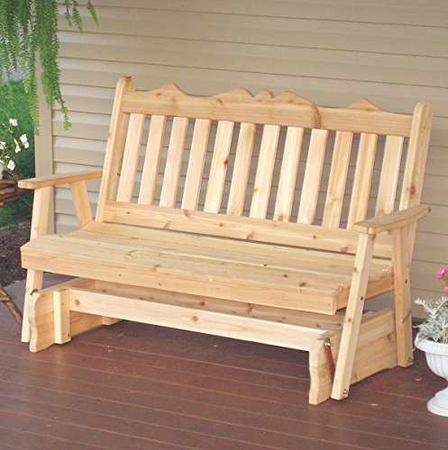 Western Red Cedar Glider (CEDAR PORCH GLIDER BENCH Outdoor Patio Gliding Bench, 2 Person Wooden Loveseat Benches, Amish Made Furniture Weather Resistant Western Red Cedar Wood, 5 Styles (5ft, English Unfinished Natural))