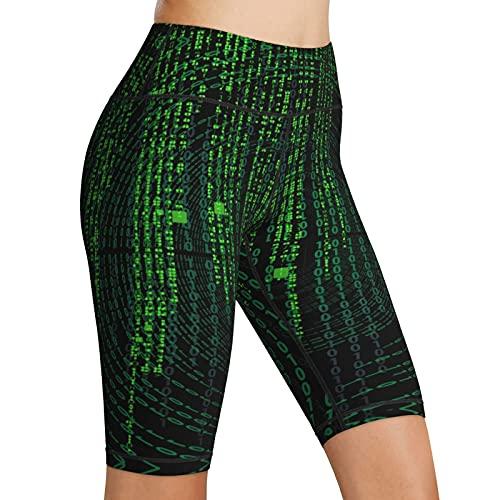 Inaayayi Hoge Taille Yoga Shorts Matrix Cijfers Creatieve Groene Vrouwen Biker Shorts Tummy Controle Fitness Atletische…