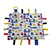 "Baby Sensory, Security & Teething Closed Ribbon Tag Lovey Blanket with Minky Dot Fabric: 14""X18"" (Police Car)"