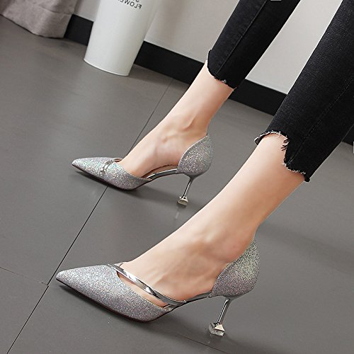 metálicos sandalias de femeninas Xue Silver hadas decorativos Shoes silvestre Qiqi Heel punta Baotou alta 8qqEzwHFn