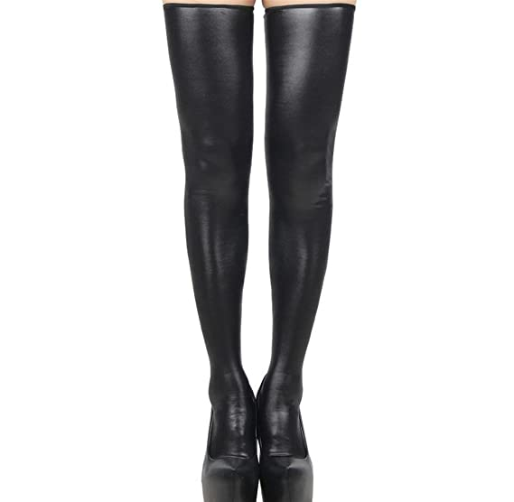 273222b0df9da Image Unavailable. Image not available for. Color: Singleluci Women Sexy  Club PU Leather Thigh-high Stockings Long Socks