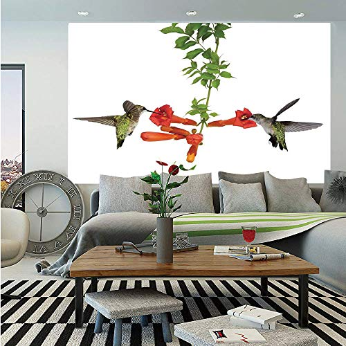 (SoSung Hummingbirds Decor Huge Photo Wall Mural,Two Hummingbirds Sip Nectar from a Trumpet Vine Blossoms Summertime,Self-Adhesive Large Wallpaper for Home Decor 108x152 inches, )