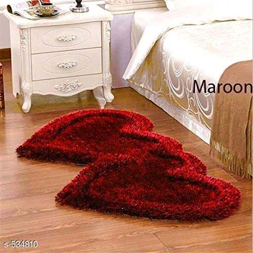 Ruhal Fabb Super Soft Silky Non-Slip Heart Shape Carpet Runner, Mats for | Bedroom | Living Room | Floor | Home Decoration