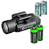 Olight PL2 (PL-2) Valkyrie 1200 lumen LED pistol light with 2 X EdisonBright CR123A lithium batteies bundle