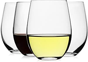 LUXU Stemless Wine Glasses(Set of 4)-20 oz,Clear Wine Cups for Red or White Wine,Crystal Whiskey Tumblers,Large Water Goblets,Drinking Glassware for Beer,Great Wine Gifts for Any Occasion