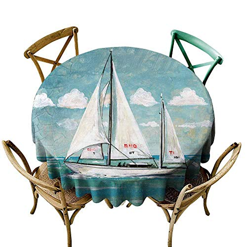 SKDSArts Custom tablecloths Blue and White Painting Sailboat D54,for Accent Table