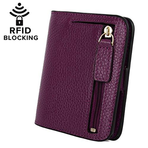 YALUXE Women's RFID Blocking Small Compact Leather Wallet Ladies Mini Purse with ID Window Purple RFID