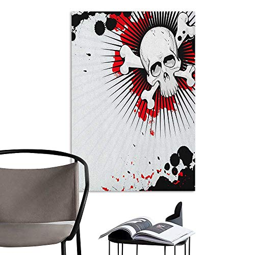 Alexandear Stickers Wall Murals Decals Removable Halloween Skull with Crossed Bones Over Grunge Background Evil Scary Horror Graphic Pearl Red Black Office Fashion W32 x H48]()