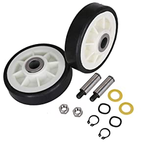 2 Pack Dryer Drum Support Roller & Axle Replaces Maytag 303373, 12001541, ER303373K, 303373K