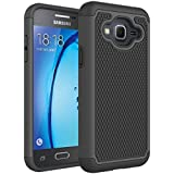 Samsung Galaxy J3 J3(6) Rugged Impact Heavy Duty Dual Layer Shock Proof Case Cover Skin - Black