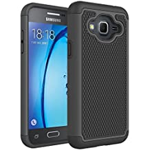 Samsung Galaxy J3 J3(6) Rugged Impact Heavy Duty Dual Layer Shock Proof Case Cover Skin - Black