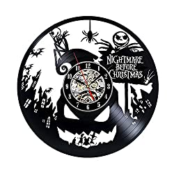 Nightmare Before Christmas Jack Disney Cartoon Vinyl Record Design Wall Clock - Decorate your home with Modern Disney Art - Best gift for him or her, girlfriend or boyfriend - Win a prize for feedback