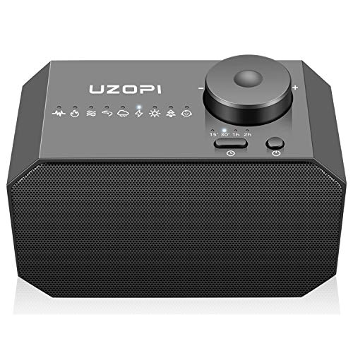 Portable Sleeping Sound Machine with 9 Soothing Sounds - White Noise, Rain, Brook, Ocean, Thunderstorm, Forest, Summer Night, Lullaby, Campfire, 30 Levels of Volume, 4 Timer (Storm Machine)