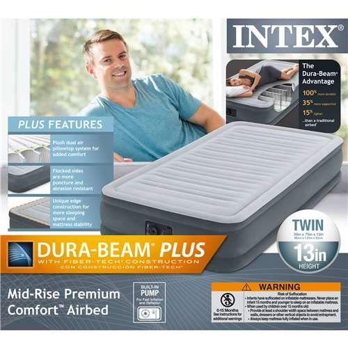 Intex Recreation Comfort Plush Mid Rise Dura-Beam Airbed with Built-in Electric Pump, Bed Height 13″, Twin