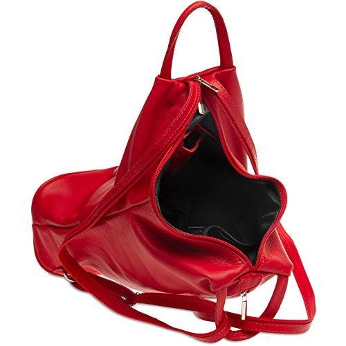 Italia Cuero en Bolso 1 2 CASPAR de Mochilo de Rojo de Genuino TL782 Hombro zxqUq71